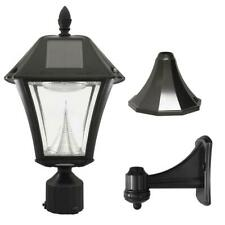 Gama Sonic Baytown II 9.75 in. Black LED Outdoor Resin Solar Post/Wall Light