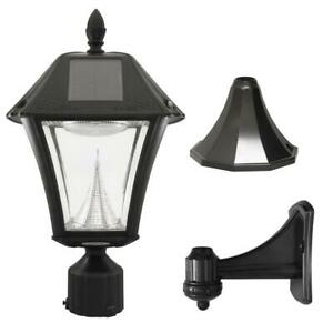 Gama Sonic Baytown II 9.75 in. Black LED Outdoor Resin Solar Post/Wall Light