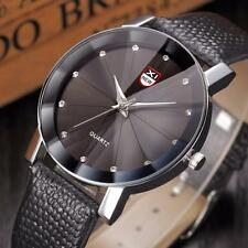 Mens Luxury Stainless Steel Quartz Military Sport Leather Band Dial Wrist Watch