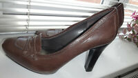 Nine West Ladies Brown Leather Court Heels Shoe UK 7W