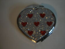HEART RED AND SILVER JEWELED COMPACT DOUBLE MIRROR CASE PURSE COMPACT