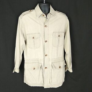 VTG Banana Republic Mens sz M Jacket Button Up Anorak Safari Travel Pockets