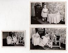 3 PHOTOS ANCIENNES Snapshot Enfant Poupée Poupon Jouet Jeu Landau Peluche