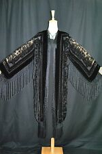 Classic Black Flower Burnout Velvet Fringe Hippie Bono Jacket Kimonos Coat
