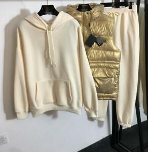 sale wholesale runway Hooded Long sleeves Pocket Hoodie Vest Pants Suits