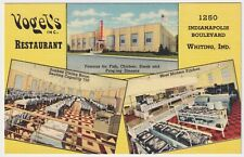 INDIANA WHITING VOGEL'S LINEN ADVERTISING POSTCARD CURTEICH PUBLISHER CIRCA 1938