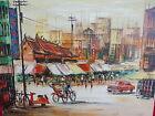 Sublime,ancien Tableau__Scène de rue dans un asiatique Großstadt__Signé