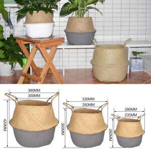 Seagrass Belly Basket Flower Plants Pots Laundry Storage Home Garden Organizer