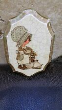 Vintage Holly Hobbie Ceramic Plaque Wall Hanging Little Girl and cat