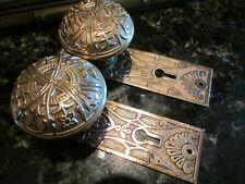 Antique Door Hardware: Lockwood Solid Bronze Door Knobs & Back Plates 1894