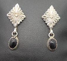 M.P. 925 Sterling Silver Dangle Onyx Earrings Southwestern Style