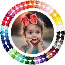 "40 Colors 4.5"" Big Grosgrain Ribbon Bows Hair Alligator Clips for Girls Toddler"