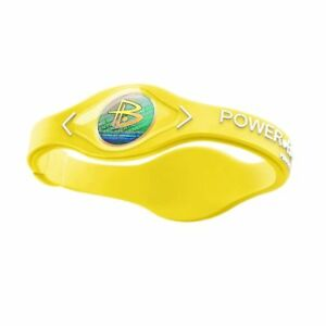 Authentic Power Balance Silicone Wristband - Neon Yellow/White - XS