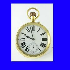 WW1 Rare 9k Gold Goliath Swiss Roskopf Patent Officers Pocket Watch 1917