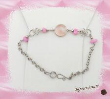 Bracelet Tasia Perle Murano Rose et Blanc_ Pierre de Roche Artisanat du Pérou