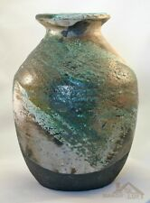 Artist Signed Handcrafted Raku Bottle Vase Pottery RB121810-78 Ron Brigerman