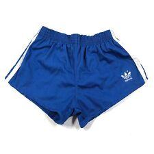 Vintage Adidas Trefoil Youth Boys 28-30 Blue Running Shorts White Striped Cloth