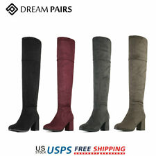 DREAM PAIRS Women Boots Winter Ladies Over The Knee High Stretch Calf Leg Boots