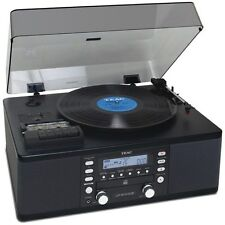 TEAC LP-R550USB-B CD Burner Cassette AM/FM Radio Turntable Record Player Black