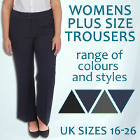 Ladies Womens Plus Size Work Trousers Office Formal Plain Pants Straight 16-26