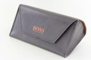 HUGO BOSS Brown Leather Sunglasses Eyeglasses Sunglasses Case Foldable Flat New