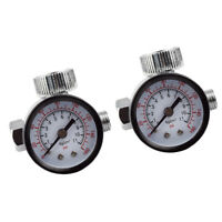 2pcs Auto Car Mini Spray Gun Pressure Regulating Air Regulator Valve Gauge