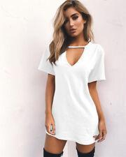UK Womens Choker V Neck Long Tops T-shirt Ladies Casual Party Mini Dress Blouse