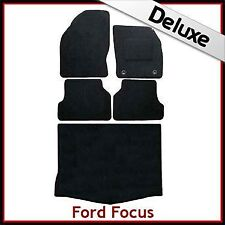 Ford Focus Mk2 5-Dr Hatchback 2004-2011 Tailored LUX 1300g Car & Boot Mats BLACK