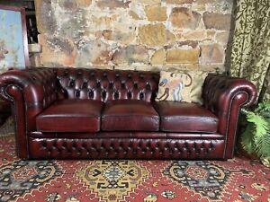 Vintage Chesterfield Leather Gasciogne 3 Seater Lounge Chair~Sofa~Burgundy Sofa