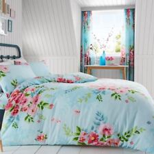 Alice Floral King Size duvet cover set Flores Hojas Turquesa + Rosa adultos
