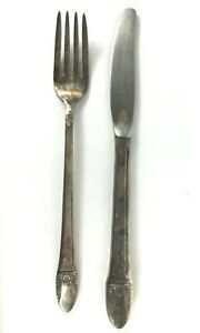 Fork & Knife Marked 1847 ROGERS BROS IS First Love Silver Plate Vintage