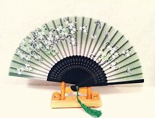 Bamboo Silk Folding Handfan in Cherry Blossom Graphics Design in Green Color