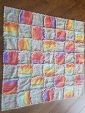 Handmade baby rag blanket rainbow color giraffe flannel NEW