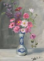 Print of Original oil painting art floral pink cosmos impressionism shabby chic