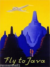 Fly to Java Indonesia Island Airplane Vintage Travel Advertisement Art Poster