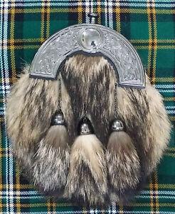 Scottish Kilt Sporran Full Dress Fox Fur Celtic Cantle Antique Highland Sporrans