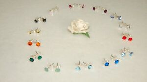 Beautiful S/P Stud Earrings with 5mm Crystal-Choice of 74 Colours-Wedding-Gifts