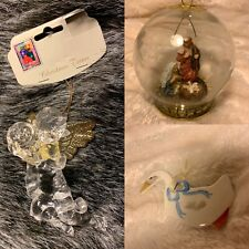 Lot of 3 Asst Ornaments Decorations Holiday Christmas Nativity Scene Angel Duck