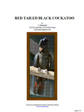 RED TAILED BLACK COCKATOO - cross stitch chart