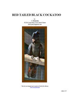 RED TAILED BLACK COCKATOO - cross stitch chart - PDF file