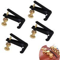4pcs Black and Gold Violin Parts String Adjuster Fine Tuner for 3/4-4/4 Violin
