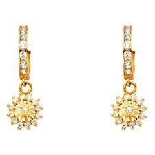 Flower Dangle Earrings 14k Yellow Gold Huggie Hoops Floral Drops Style Fancy