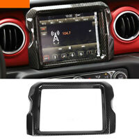 Carbon Fiber Navigation Screen Cover Trim Fit For Jeep Wrangler JL Rubincon