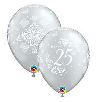 Qualatex ANIVERSARIO Látex & globos de Papel Aluminio -25 PLATA, 40 RUBÍ, 50