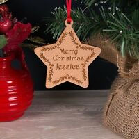 Wooden Personalised Christmas Decoration Childrens First Name Star Bauble Gift