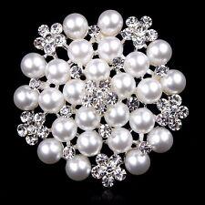 Rhinestone crystal pretty flower pearl bridal bouquet brooch pin wedding party A