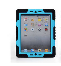 Pepkoo Black+ Blue Heavy Duty Hybrid Shockproof Waterproof Case For iPad 2/3/4