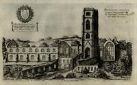 England Monastery York 1655 antique engraved print