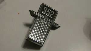 NOS 1965 FORD GALAXIE CUSTOM 500 LTD 352 FRONT FENDER EMBLEM NAMEPLATE ORNAMENT