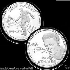 ELVIS PRESLEY Silver Coin Super Mega Star Picture Autograph Cult Hero Songs USA